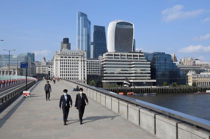 Rush Hour in Corona-Zeiten: Blick auf die Londoner City.