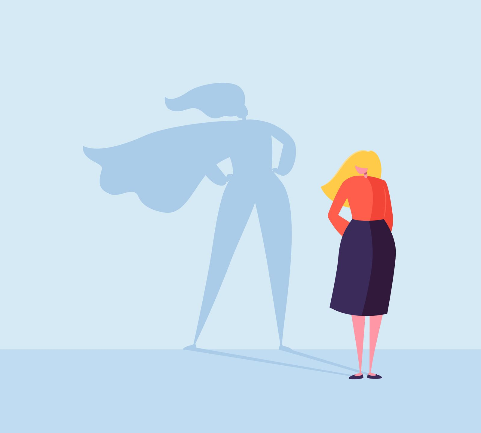 Business Woman with a Super Hero Shadow. Female Character with Cape Silhouette. Businesswoman Leadership Motivation Concept. Vector illustration