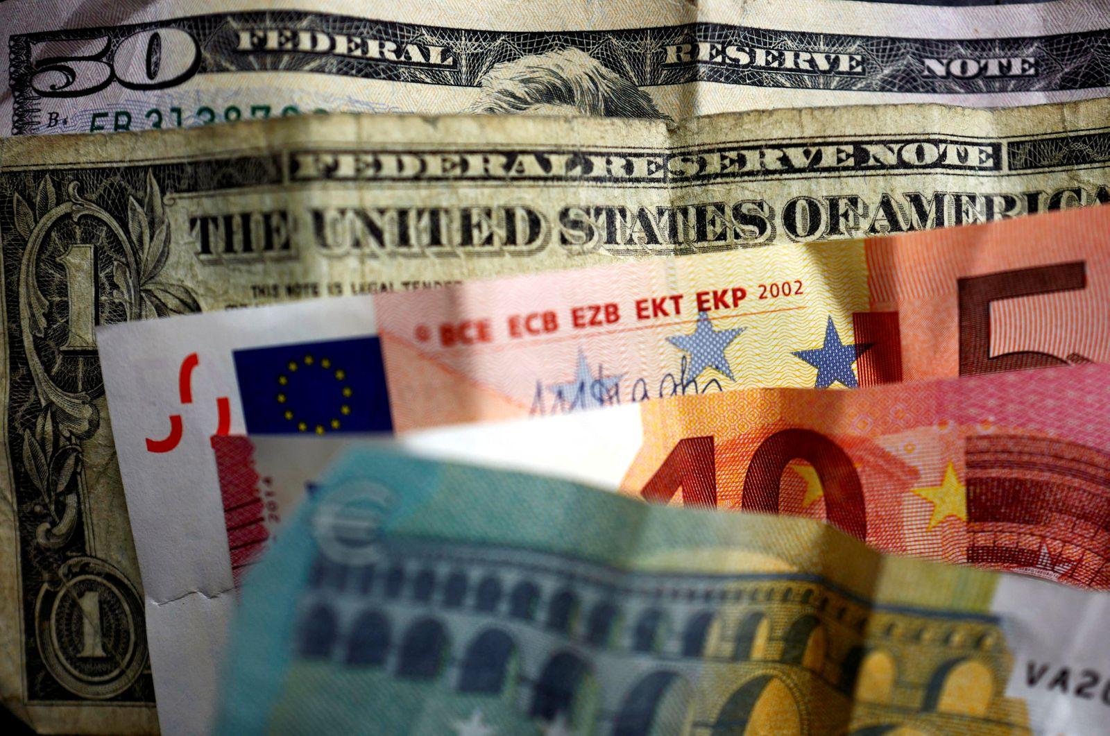Euro und Dollar / Banknoten / Geldscheine