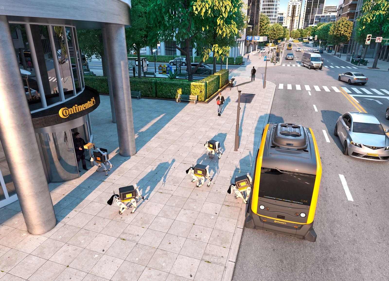 Continental AG / Fahrerloses Fahrzeug mit Lieferrobotern