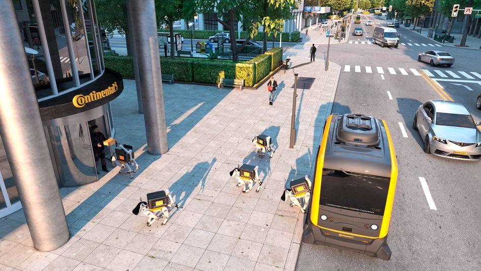Continental-Vision: Fahrerlose Busse mit Robo-Hunden liefern Pakete bis an die Haustür