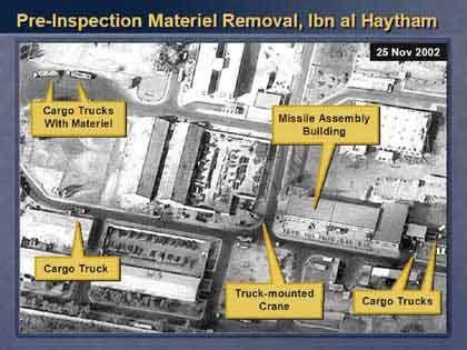 Die Anlagen von Bin al Haytham. Nach Powells Auffassung stellen die Bilder einen wichtigen Beweis dafür dar, dass der Irak gegen die UN-Resolution verstoßen hat