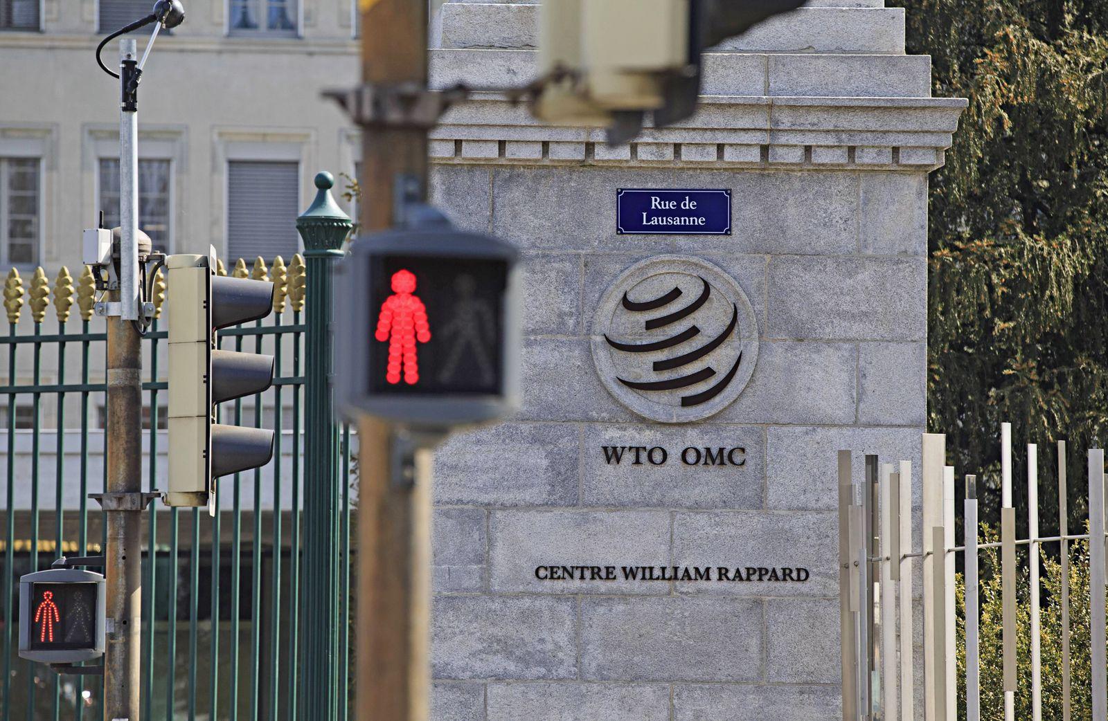 190402 GENEVA April 2 2019 Xinhua Photo taken on April 2 2019 shows the WTO logo on the