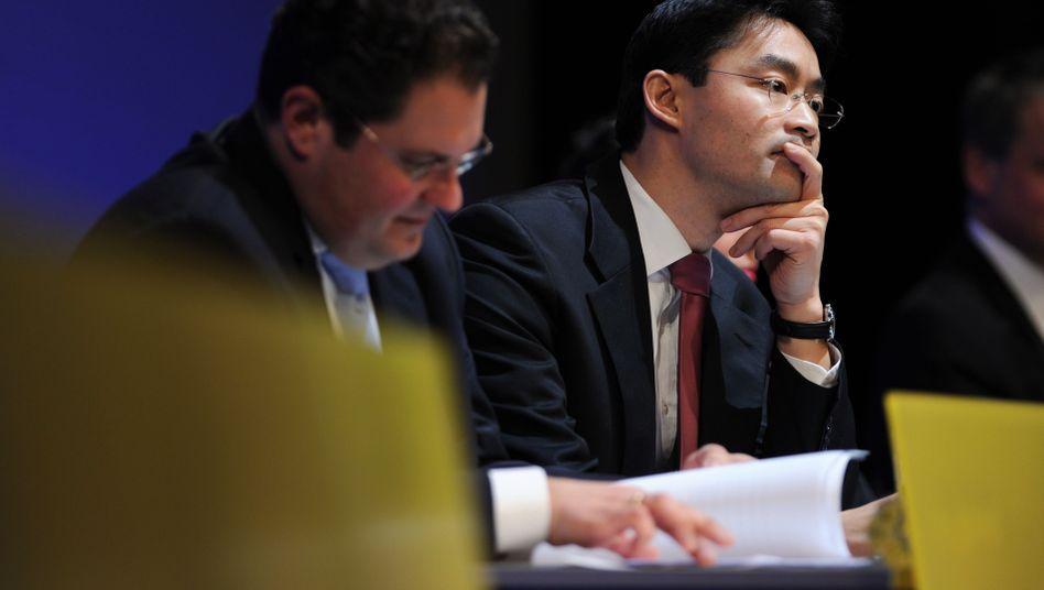 Nachdenkliche Gesichter: FDP-Generalsekretär Patrick Doering (l.) und der Vorsitzende der FDP, Philipp Rösler auf dem Podium in Stuttgart