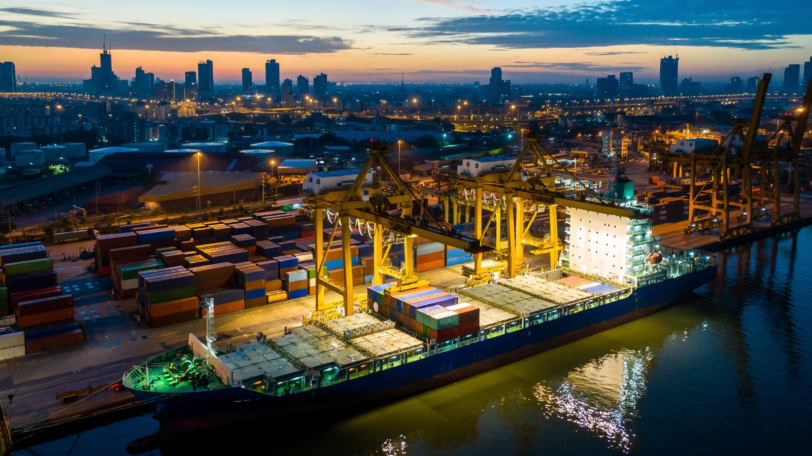 Container ship & warehouse