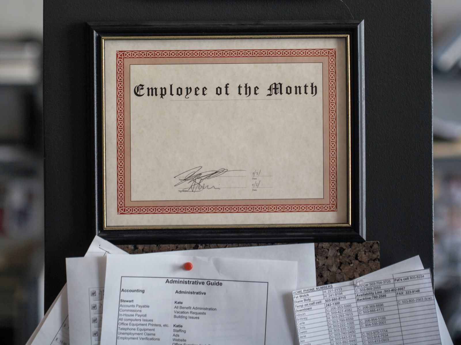 Blank employee of the month certificate