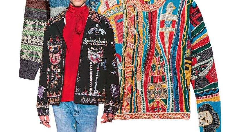 INDIAN SUMMER (von oben): Jeansjacke mit Patchwork von Maison Margiela, 1100 Euro ; Baumwollpullover von Kapital, Preis auf Anfrage ; Gucci-Jacke, Preis auf Anfrage ; Schuhe von Loewe, 690 Euro.