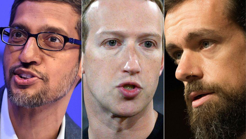Abwehrspieler: Google-Chef Sundar Pichai, Facebook-CEO Mark Zuckerberg und Twitter-Vormann Jack Dorsey.