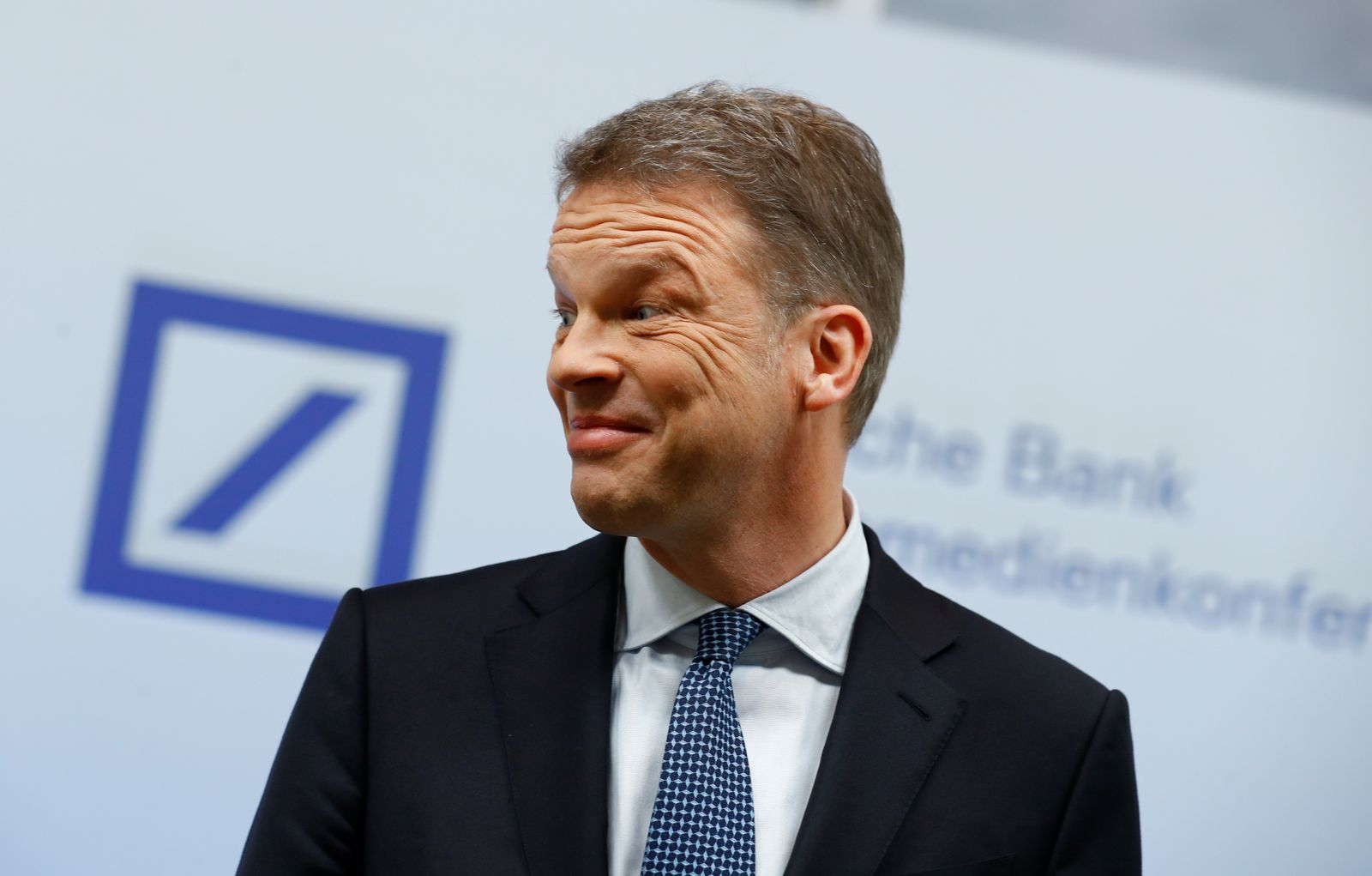 Christian Sewing, CEO of Deutsche Bank AG, addresses the media during the bank's annual news conference in Frankfurt