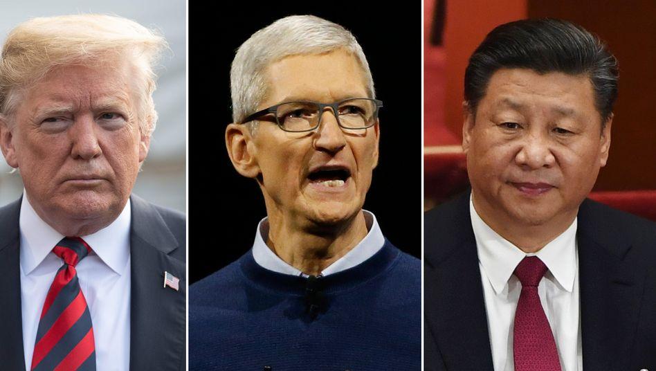 Zwischen den Fronten: Apple-CEO Cook zwischen US-Präsident Trump (l.) und Chinas Staatspräsident Xi