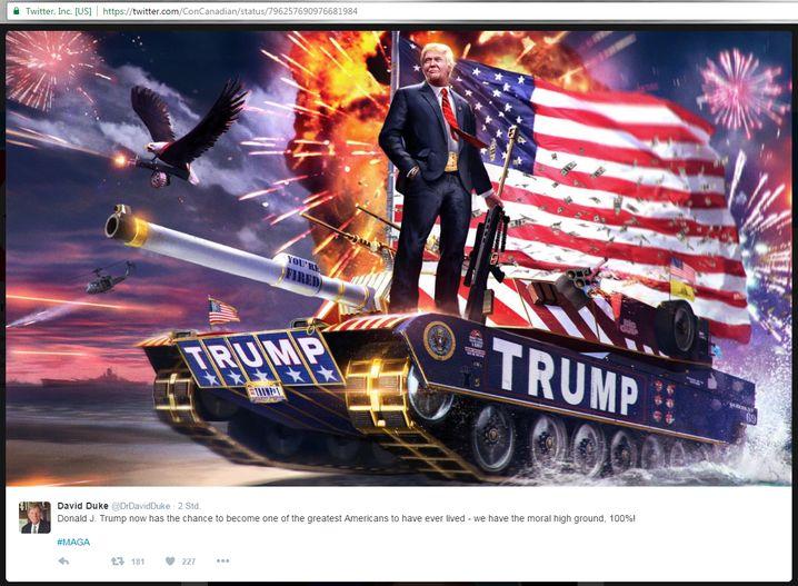 Solche Posen kennt man sonst eher von nicht demokratisch gewählten Machthabern - Screenshot eines Tweets des Ex-Ku-Klux-Klan-Sprechers David Duke