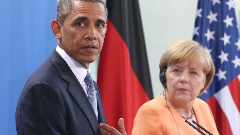 """US-Präsident Obama bei seinem Deutschland-Besuch in Berlin: Bundeskanzlerin Merkel ist """"befremdet"""""""