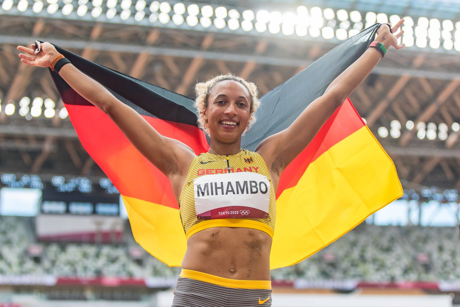 Olympic Games, Olympische Spiele, Olympia, OS 03.08.2021 Malaika Mihambo of Germany at the flag ceremony after winning