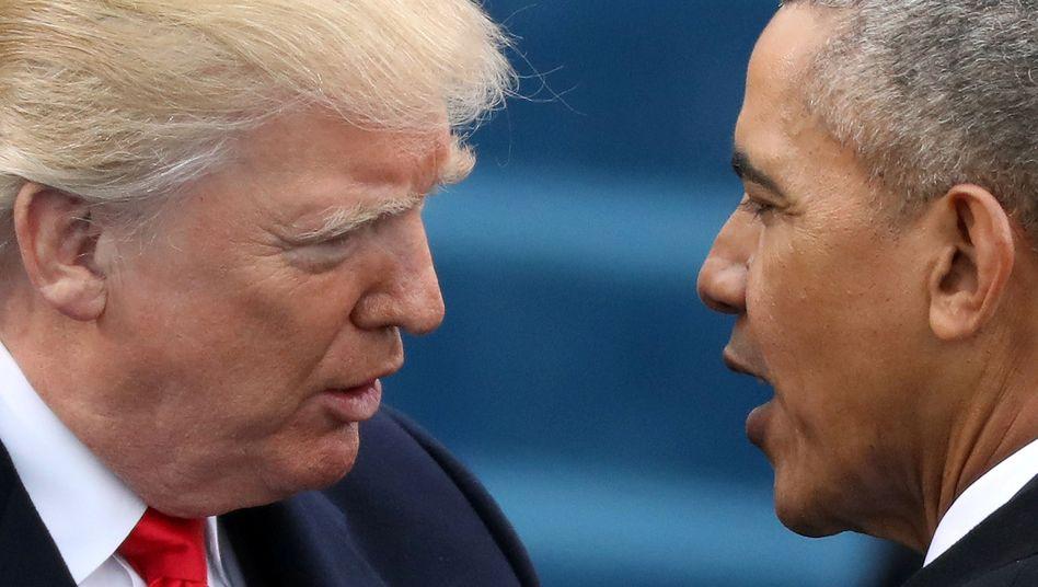Trump, Obama: Mit der Zurücknahme von Obamacare ist Trump krachend gescheitert. Nun will Trump Obamas Klimaschutzbestimmungen per Dekret aushebeln