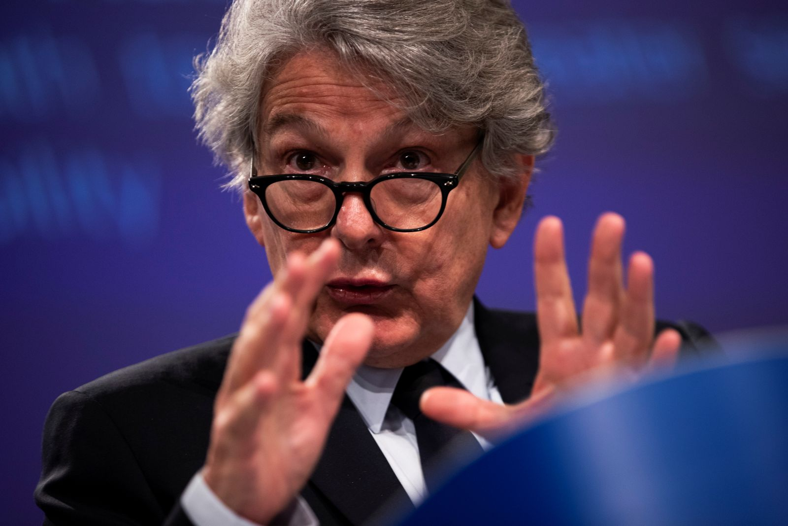 European Union Internal Market Commissioner Thierry Breton talks to journalists during an online news conference at the EU headquarters in Brussels