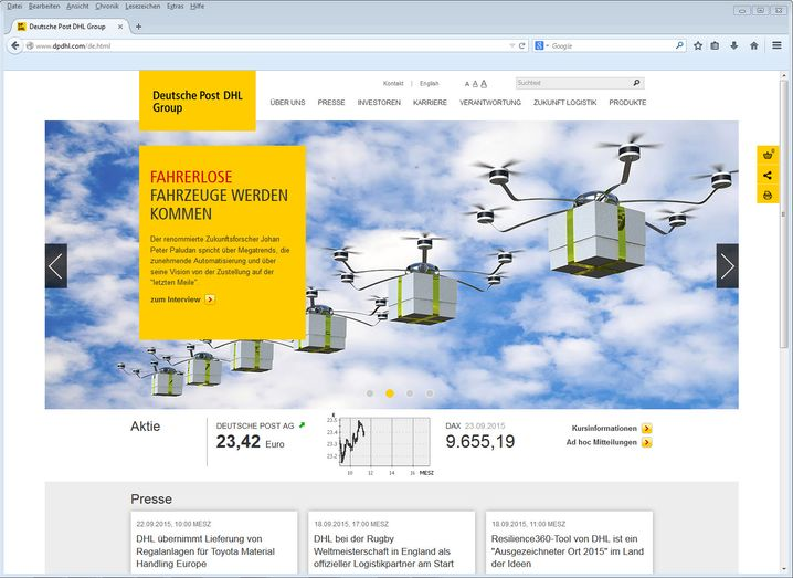 """Aufgeräumte Optik beim Spitzenreiter: Der Deutschen Post attestiert NetFed """"eine sehr gute Mischung aus onlinegerechten Inhalten, nützlichen Services und einer guten Usability"""""""