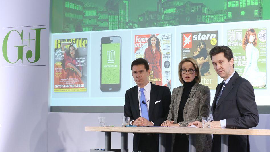 Umbau bei Gruner + Jahr: Julia Jäkel (Mitte) wird CEO. Die Vorstände Torsten Klein (links) und Achim Twardy (rechts) müssen gehen