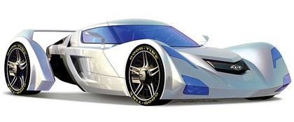 Kia Sidewinder: Zweisitziges Sportmodell, das von einer umweltfreundlichen Druckgas-Turbine in Schwung gebracht wird