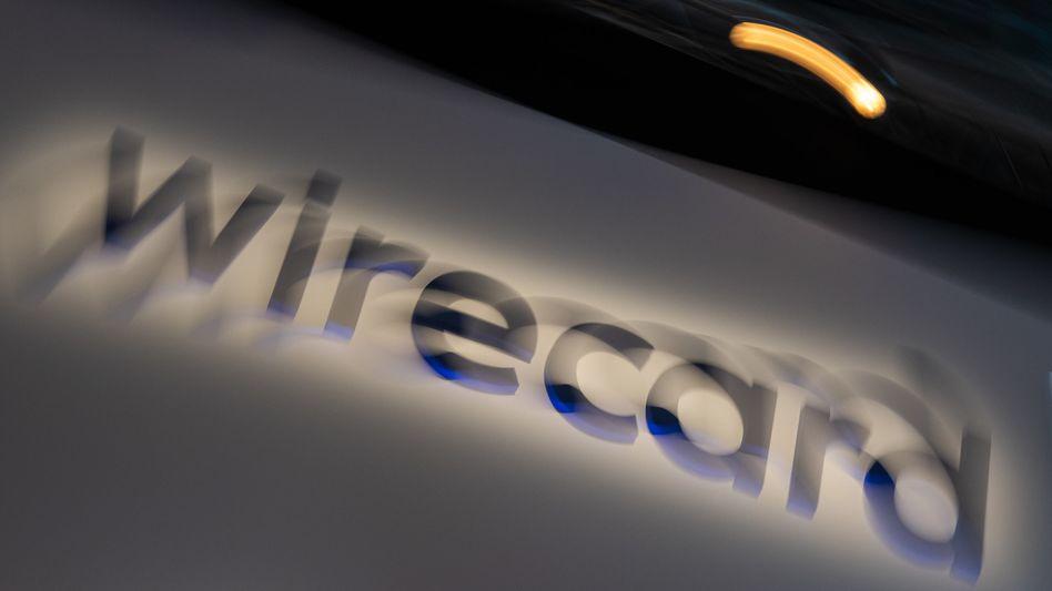 Wirecard-Logo bei der Hauptversammlung 2019