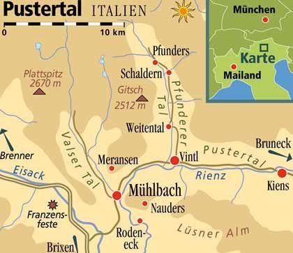 Übergang von Zillertaler Alpen und Dolomiten: Das untere Pustertal gehört touristisch zur südtiroler Region Eisacktal