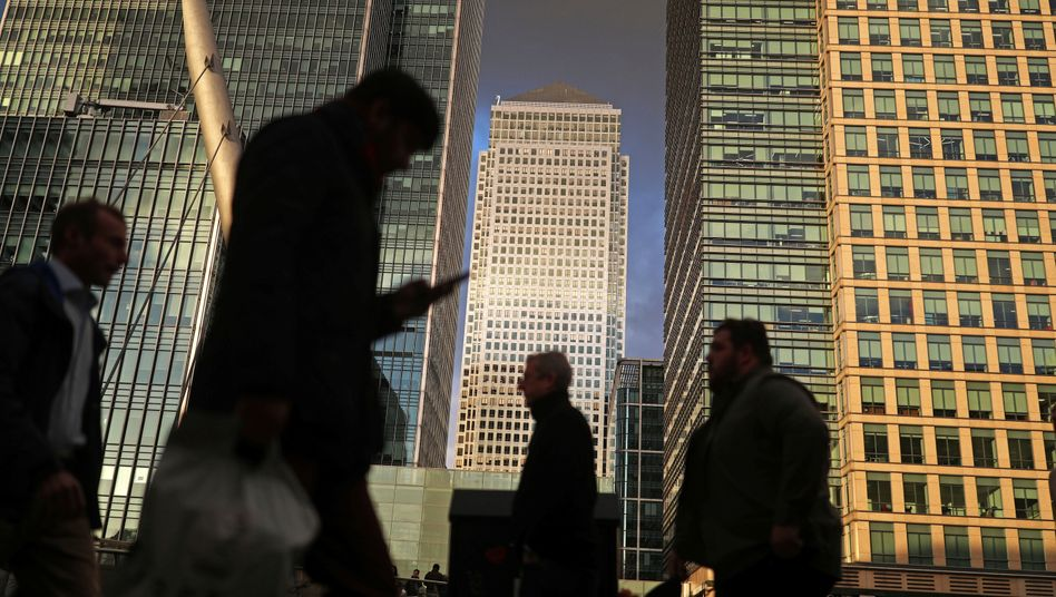 Büroimmobilien im Londoner Finanzviertel Canary Wharf