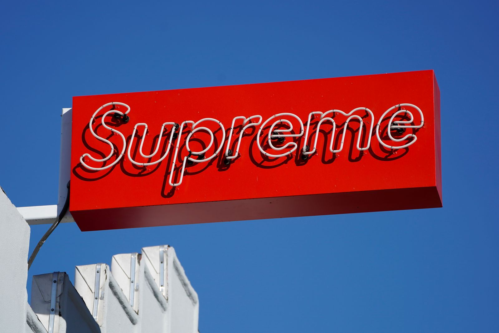 A Supreme clothing store sign is seen on Fairfax in Los Angeles, California