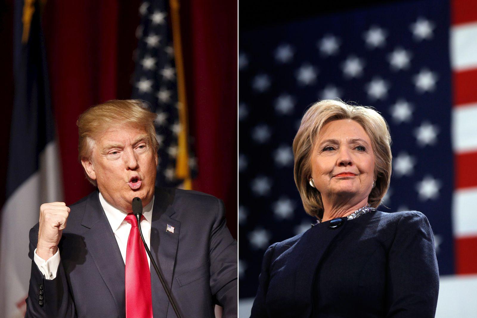 Combo/ Donald Trump/ Hillary Clinton/ Vorwahlen