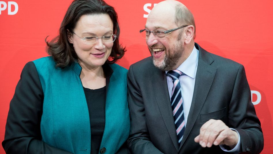 Umverteilungsduo: Bundesarbeitsministerin Andrea Nahles und SPD-Kanzlerkandidat Martin Schulz