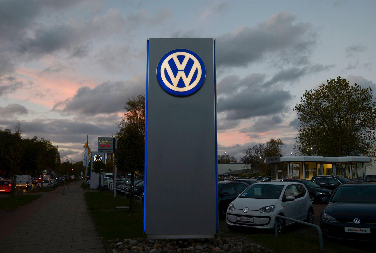Logo of German carmaker Volkswagen is seen at a VW dealership in Hamburg