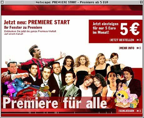 Screenshot der Homepage von Premiere