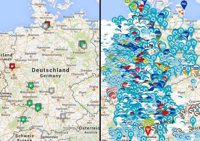 Combo: Karte-Wasserstofftankstellen und Ladestationen für Elektroautos