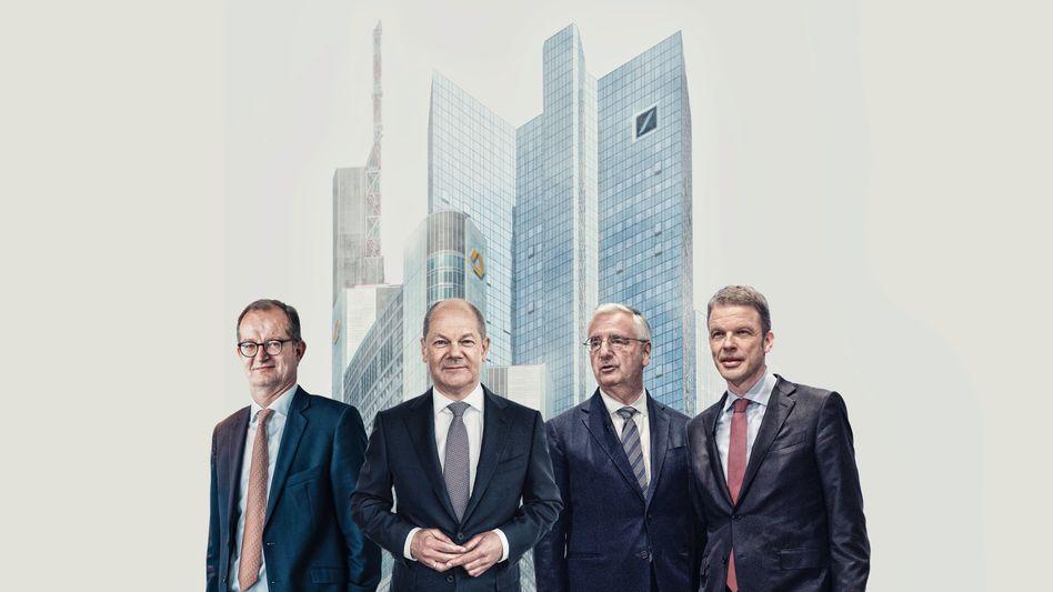 Von links: Martin Zielke, Olaf Scholz, Paul Achleitner, Christian Sewing