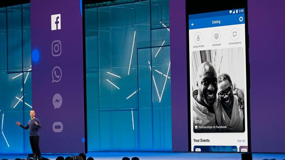 Facebook-Chef Zuckerberg bei der Präsentation des neuen Facebook-Dienstes auf der Entwicklerkonferenz F8