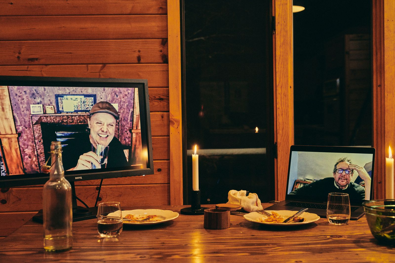 Lars Ulrich, drummer for Metallica, left, and A.O. Scott, film critic for The New York Times, converse via Zoom, Bethel Woods, N.Y., Jan. 27, 2021. (Bryan Derballa/The New York Times)