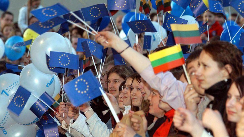 Europa-Begeisterung bei einem Konzert in Vilnius: Der wird zum 1. Januar 2015 die Gemeinschaftswährung einführen