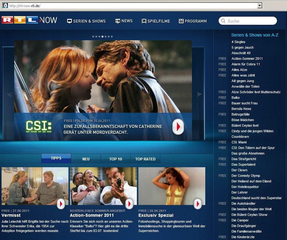 Screenshot RTL now / CSI / TV / Fernsehen online