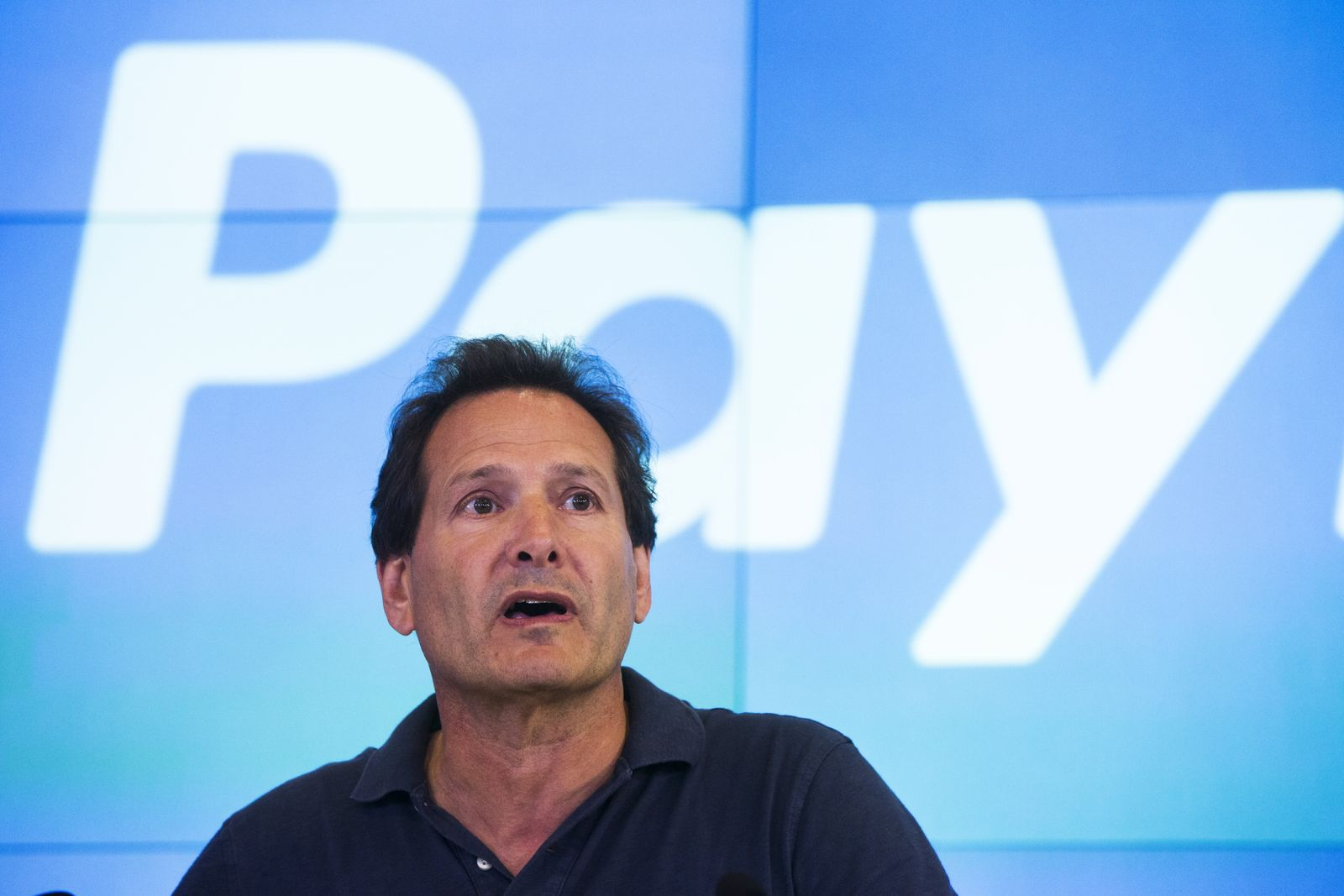 Paypal CEO Dan Schulman takes part in the company's relisting on the Nasdaq in New York