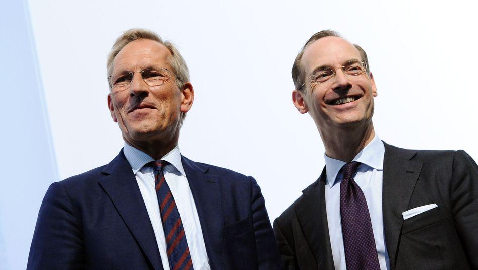Führungswechsel: Allianz-CEO Michael Diekmann (links) übergibt nach zwölf Jahren im Amt an seinen Nachfolger Oliver Bäte (rechts)