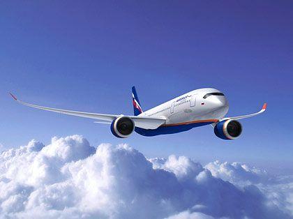 Computersimulation für Aeroflot: Der A350 XWB in den Farben der russischen Airline