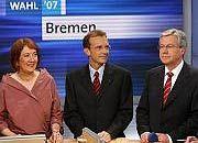 Nach der Wahl: Karoline Linnert (Grüne), Thomas Röwekamp (CDU) und SPD-Spitzenkandidat Jens Böhrnsen