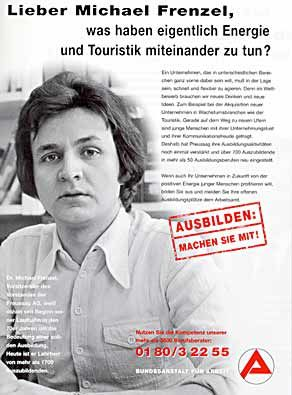70er Jahr', langes Haar: Für eine Kampagne des Arbeitsamts 1998 stiftete Frenzel ein Jugendfoto