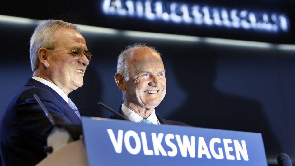 VW-Chef Winterkorn, VW-Aufsichtsratschef Piech: Der VW-Patriarch geht auf Distanz - doch Winterkorn bleiben mächtige Verbündete