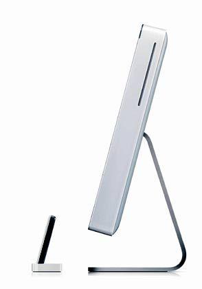 Schlanke Linie: Seitenansicht des Apple iMac G5 mit passendem Zubehör, einem iPod.