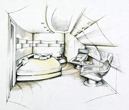 A380-Edel-Schlafzimmer: Auf Wunsch wird in die Zimmerdecke ein Display eingelassen, auf dem der aktuelle Sternenhimmel (wird von Bord aus abgefilmt) oder ein Kinofilm zu sehen sind