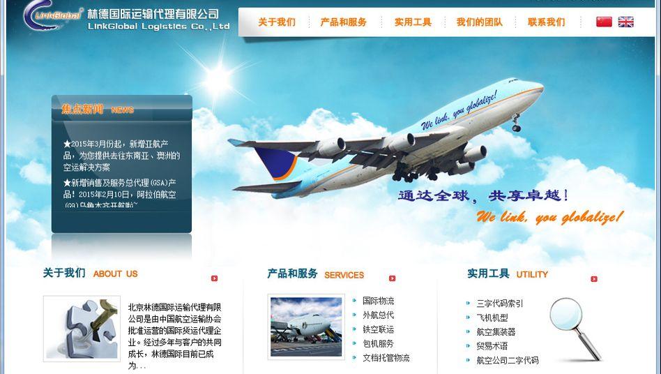LinkGlobal , der chinesische Betreiber des Flughafens Parchin, hat Interesse an Air Berlin angemeldet (Screenshot Internetseite).