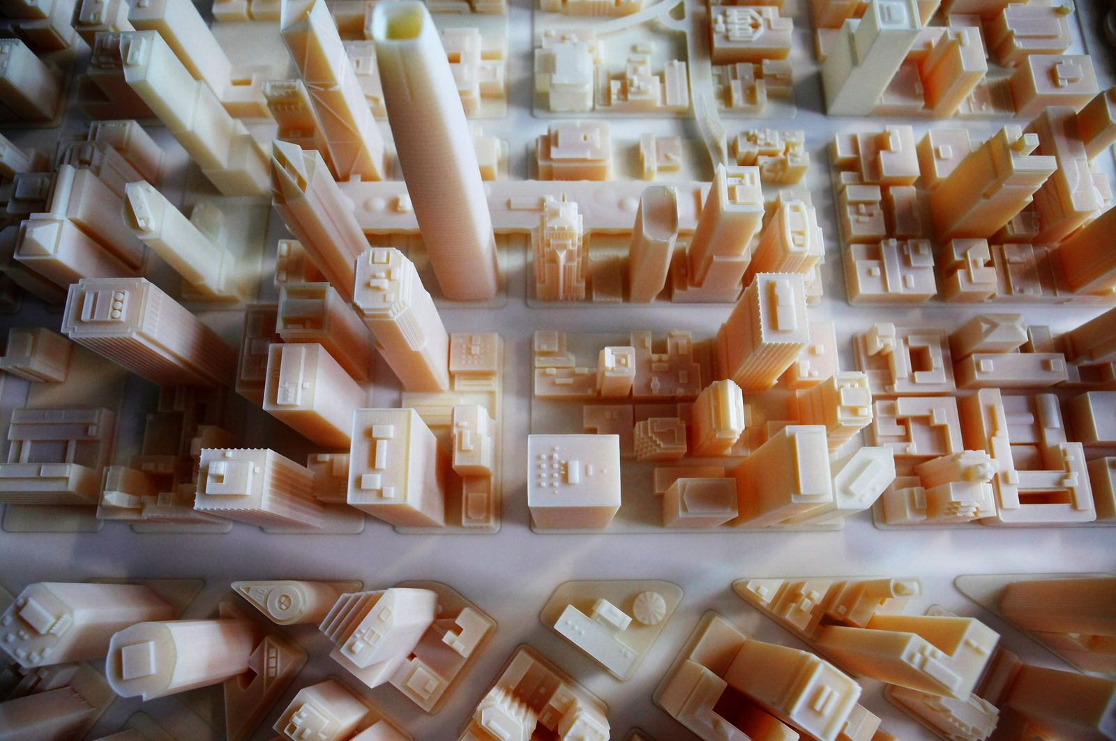 SF future skyline created by 3D printer