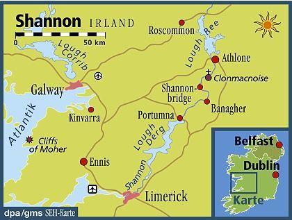 Irlands längster Fluss: Der Shannon entspringt im Norden der Republik und mündet bei Limerick ins Meer