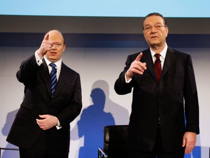 Der Existenzkrise entkommen: John Cryan als UBS-Finanzvorstand mit Ex-Bankchef Oswald Grübel 2010