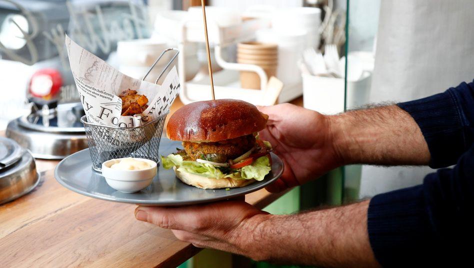 Burger (ohne Fleisch) in Brüsseler Restaurant