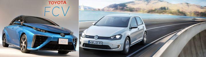 Toyota FCV (links), Volkswagens E-Golf (rechts): Zwei Konzerne, zwei Philosophien